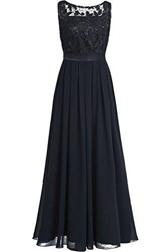 Freebily Damen Kleider festlich Spitzenkleid Hochzeit Brautjungferkleid lang PartyKleid Abend Abschluss Maxi kleider Chiffonkleid Schwarz EU 36 (Herstellergröße: 4)