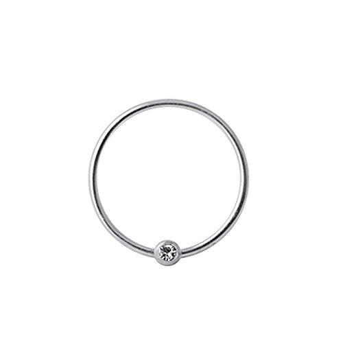 Klar Crystal Stein Ball 20 Gauge 925 Sterling Silber BCR Captive Bead Nase Ring Piercing