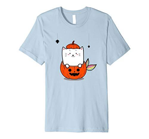 Niedliche Katzen-Meerjungfrau im Kürbis, Halloween-T-Shirt