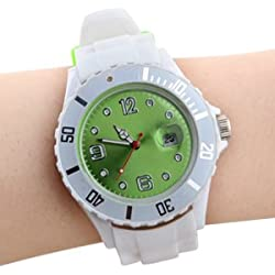 QUARTZ JELLY WRIST WATCHES SILICON RUBBER STRAP SPORT WATCH UNISEX + CALENDAR