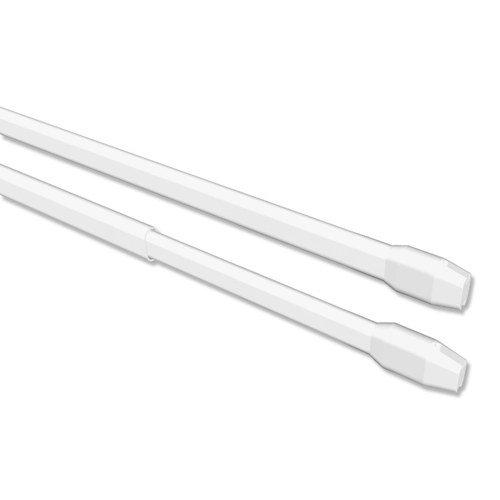 Interdeco Vitragestangen / Scheibenstangen Weiß (2 Stück), ausziehbar 40-60 cm