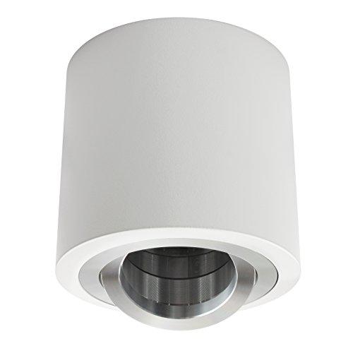 Aufbaustrahler / Aufbauleuchte / Aufputz Deckenleuchte / schwenkbar / Aluminium rund weiß / GU10-230V WF9 (Ohne Leuchtmittel)