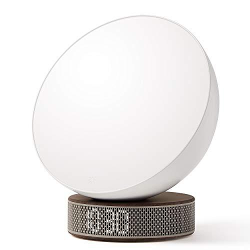 Lexon Miami Sunrise - Lámpara de despertador, simulador de amaneces, 6 tonos naturales, pantalla LED...