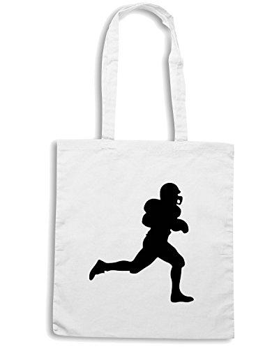T-Shirtshock - Borsa Shopping WC1019 American Football Rugby Player Maglietta Bianco