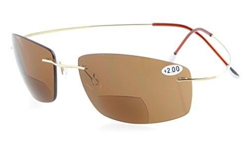 Eyekepper Titanium Randlos UV400 Polycarbonat Braun Linse Bifokal Sonne Leser Bifocal Sonnenbrillen+1.0