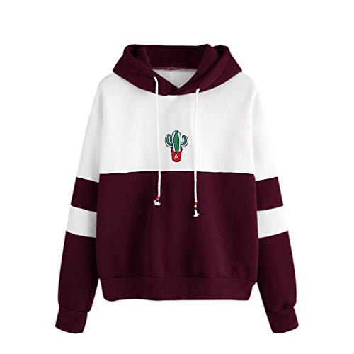 OYSOHE Damen Sweatshirt,Langarm Kaktus Print Baumwolle Pullover mit Kapuze Tops Bluse