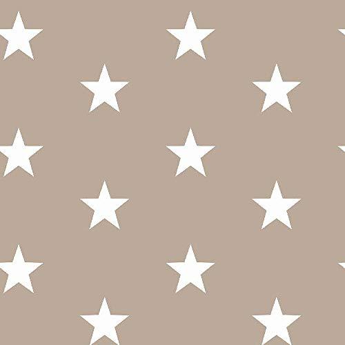 Stoff Meterware Baumwollstoff Sterne Dreiecke Rauten Punkte in verschiedenen Farben mint rosa grau sand ab 50cm x 150cm Kinderstoff Dekostoff Patchworkstoff (große Sterne sand)