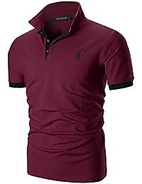67acb762301 YCUEUST Hommes Cotton Basic Manche Courte Casual Polo Tennis Golf Poloshirt
