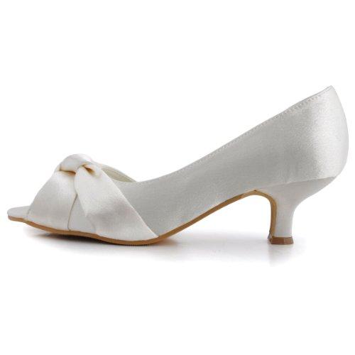 Elegantpark 1201D Bout Ouvert Noeud Talon Bas Femmes Satin Chaussures de Mariee Mariage Ivoire