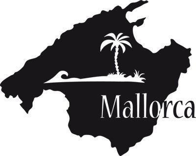 """Preisvergleich Produktbild Wandtattoo Landkarte Mallorca Spanien Deko für Wohnzimmer mit Spruch Mallorca """",  schwarz,  63x50cm"""