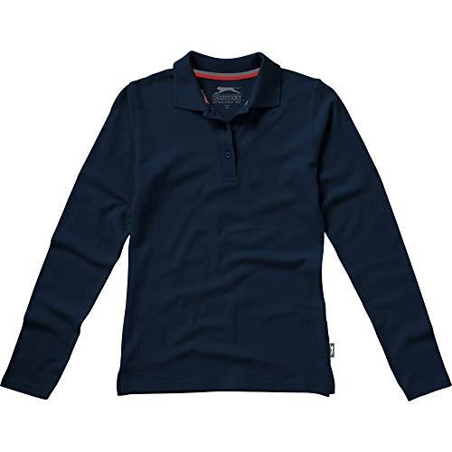 Slazenger Damen Point Langarm Polo Shirt (M) (Marineblau)