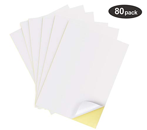 1Plusselect 80 Stück Universal Etiketten (DIN A4 210 x 297 mm) 80 Aufkleber Selbstklebend Bedruckbar, Weiß