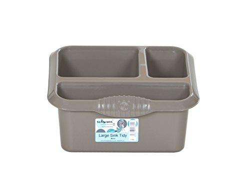 Wham High Grade Caddy Sink Tidy Cutlery Drainer Holder, Mocha, 10 x 10 x 10 cm