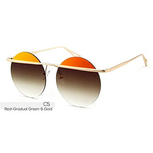 ZHENCHENYZ Runde Sonnenbrille Frauen Männer Retro Flat Top Gold Kreis Sonnenbrille Shades