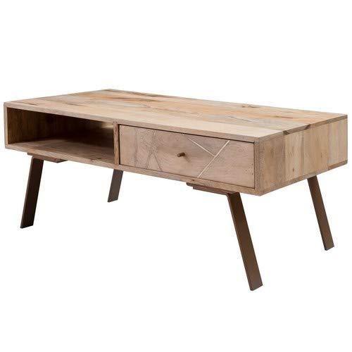 Wohnling SIKAR Table Basse en Bois Massif et métal Style manguier avec tiroir Marron 95 x 42 x 50 cm Table de Salon Design en Bois Massif 95 x 42 x 50 cm