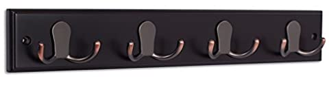 BirdRock Home Satin Nickel Hook Coat Rack   Wall Mounted   Key and Hat Hooks (4 Hook, Oil Rubbed Bronze Hooks/Dark Brown)