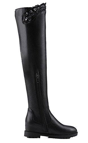 Kniehoch Plateau Damen Heels Langschaft Mit Winter Keilabsat Gefüttert High Overknee Schwarz Warm Stretch Fell Boots Stiefelette Ye w1qITT