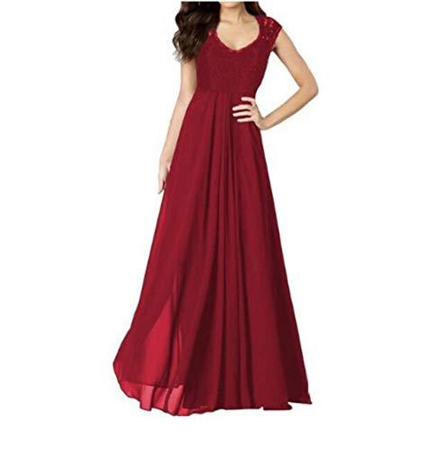 Rocke Damen Kleid mit V-Ausschnitt ärmellose Spitze Chiffon Langes Maxi Party Kleid (Farbe : Red, Size : M) - Red Heels Chiffon