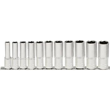 deep 10 pcs 10-19mm 1//2 CLASSIC Hexagonal socket set