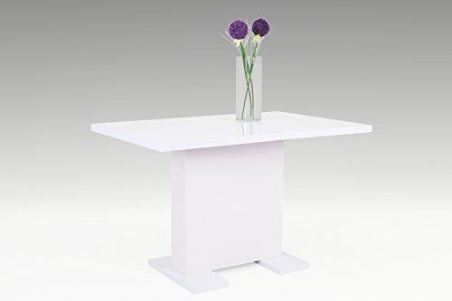 Avanti trendstore - umag - tavolo bianco allungabile a 160 cm, in laminato di colore bianco lucido, dimensioni: lap 120x75x80 cm