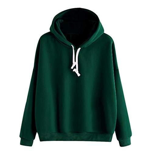 (OYSOHE Damen Sweatshirt,Feste Lange Hülsen Beiläufige mit Kapuze Pullover Bluse)