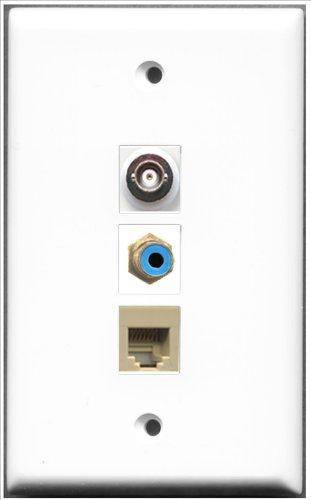 RiteAV RJ11, RJ12, beige und 1Port BNC Wall Plate-1Port Cinch blau + 1Ports -