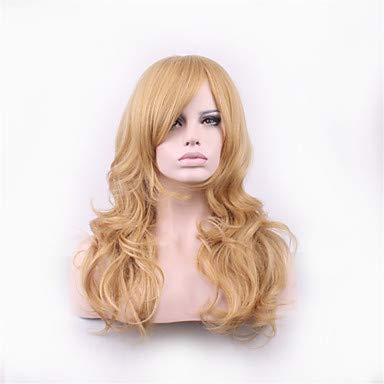 FUHOAHDD Blonde Lolita Harajuku Perücke lockige synthetische Perücken Pelucas Pelo natürliche manische Panik billig Anime Cosplay Perücke Perruque, Blonde (Perruque Blonde Halloween)