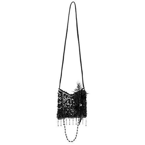 Amakando Glitzernde 20er Jahre Schultertasche / 25 cm in schwarz / Elegante Gatsby-Damentasche Goldene Zwanziger / Perfekt geeignet zu Fasching & Fastnacht
