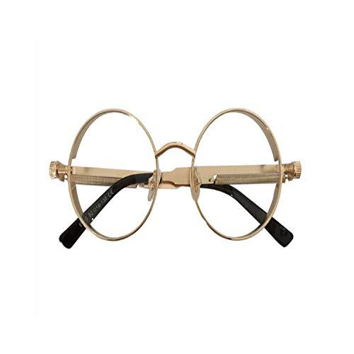 FGRYGF-eyewear2 Sport-Sonnenbrillen, Vintage Sonnenbrillen, High Quality Retro Women Round Sunglasses Steampunk Metal Frame Vintage Round Sun Glasses Male Female Spiegel Uv400 gold with clear