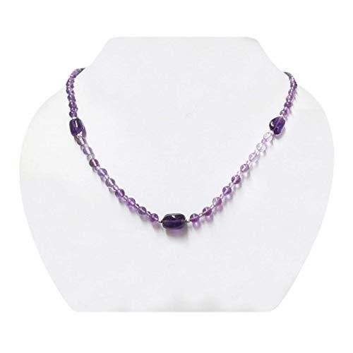 Lila Amethyst Perlen Halskette Strang mit 925 Sterling Silber Erkenntnisse 16
