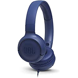 JBL Tune500 - Casque supra-auriculaire avec fil - Léger et pliable - Écouteurs confortables - Avec commande mains libres - Microphone intégré - Bleu