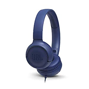 JBL T500 On Ear Lightweight/Foldable Headphones w/Pure Bass Sound, 1-Button Remote/Built-In Microphone - Blue