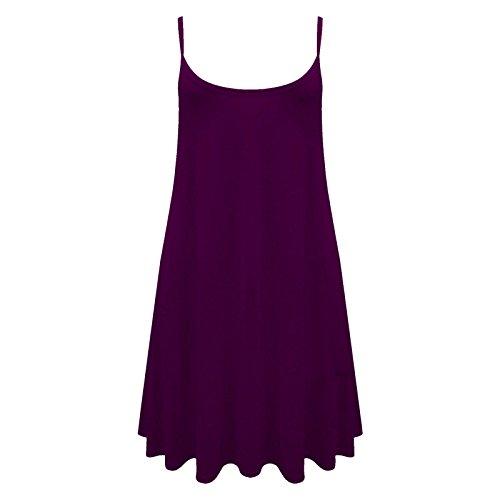 Femmes Long Caraco Uni Gilet Robe Chasuble Swing Haut Évasé imprimé 8-26 Violet