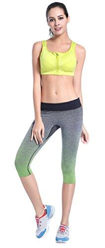 EOZY Femme 3/4 Leggings Sport Élastique Pantalon Corsaire Yoga Running Fitness Vert