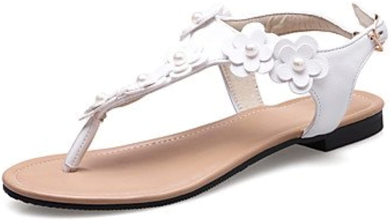 YFF Donna Sandali Slingback PU tacco tacco tacco piatto fiore,Bianco,US8.5 | Fashionable  cd6abe