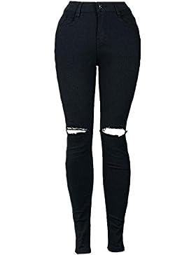 FAMILIZO Mujeres Slim lápiz pantalones Cool Ripped Rodilla Corte Skinny Long Jeans Pantalones Leggings