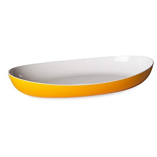 Omada Design Piatto da Portata o Pirofila in Plastica Infrangibile Bicolore, Made in Italy, linea Trendy, 38 x 23 x 6 cm, Lavabile in Lavastoviglie, ideale per pietanze calde o fredde, Giallo