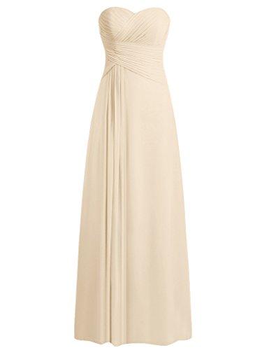 HUINI Tr?gerlos Kleid der Brautjungfer Lange Chiffon Abendkleid Ballkleid Champagner