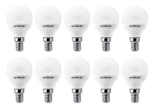 ULTRALED SET di 10 LAMPADINE LED SFERA P45, Attacco E14, LUCE NATURALE 4000K 7W 525 Lumen