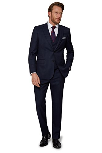 Savoy Taylors Guild Herren Regular Fit Marine Blau Chalk Streifen Anzug Jacke Sakko 46S Blau (Marine-streifen-wolle-anzug)