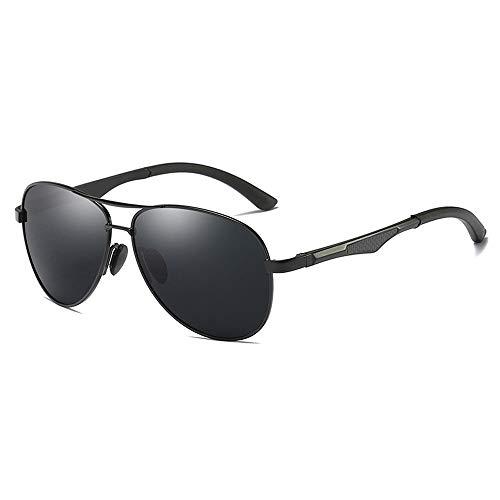 Easy Go Shopping Teardrop Herren Sonnenbrille Klassisches Design UV Cut Cross & Brillenetui Polarisierte Sonnenbrille Sonnenbrillen und Flacher Spiegel (Color : Schwarz, Size : Kostenlos)