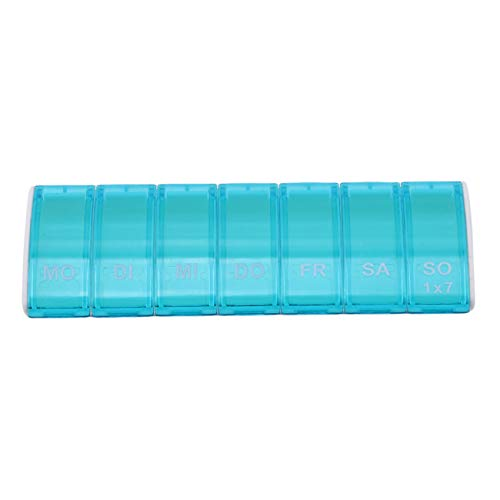 Bigsweety Rechteck 7 Gitter Tragbare Mini Pille Fall Medizin Tablet Sorter Drug Box Container Medizin Medikament Splitter (Blau) (Pille Sorter Box)