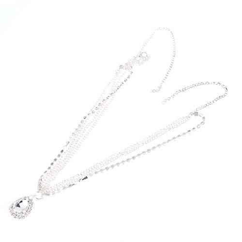 Lurrose Tropfenförmige Kristall Dekor Silber Stirn Kette Kopfschmuck Strass Haarschmuck