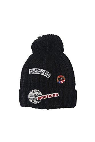 Toison d'hiver doublé câble Pom Pom Beanie bonneterie Black
