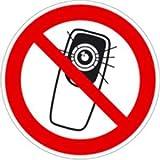 Aufkleber Foto-Handy benutzen verboten 20cm Ø Folie