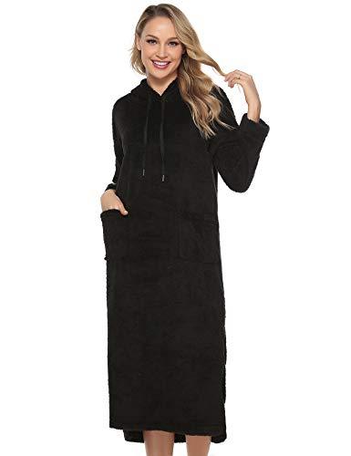Aibrou Pyjama Femme Polaire Robe Chambre Chapeau Longue Hiver Sortie de Bain Peignoir Pas Cher personnalisé B- Noir EU(48-50)-XL