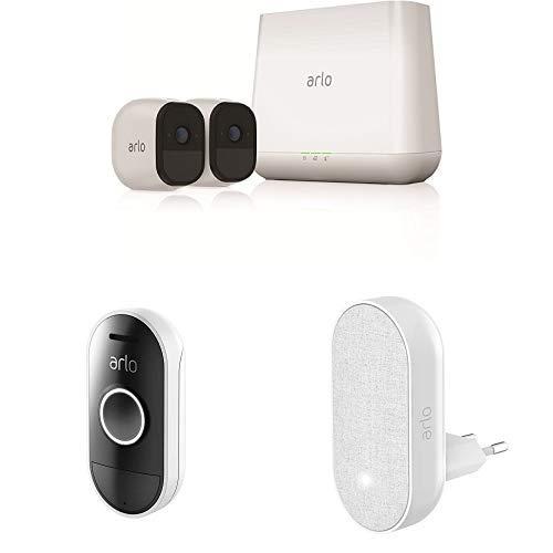 Arlo Pro Smart Home HD-Überwachungskamerasystem mit Cloud Speicher, 2er Kameraset & Smart Doorbell und Chime inklusive -