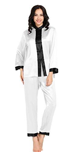 LILYSILK Ensembles de Pyjama en Soie Femme Style Chinois 22 Momme Blanc