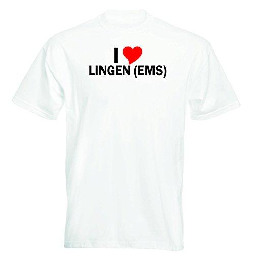 T-Shirt mit Städtenamen - i Love Lingen (Ems) - Herren - unisex Weiß