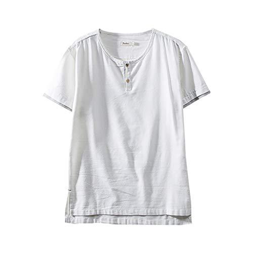 Xmiral T-Shirt Herren Kurzärmlig Knopf Rundkragen Baumwollmischung Shirts Retro Hemde Chinesischer Stil Patchwork Geteilter Saum Tops Bluse (Weiß,XL)